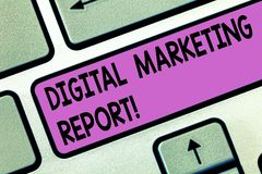 Handwriting text Digital Marketing Report. Concept meaning Set of data showing the perforanalysisce of a business stock photo