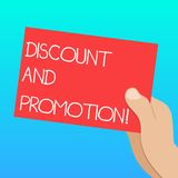 Handwriting text Discount And Promotion. Concept meaning reductions to a basic price of goods or services Drawn Hu. Analysis Hand Holding Presenting Blank Color royalty free illustration