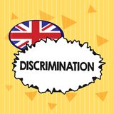 Handwriting text Discrimination. Concept meaning Prejudicial treatment of different categories of showing.  stock illustration