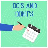 Handwriting text Do S And Dont S. Concept meaning Rules or customs concerning some activity or actions. Handwriting text Do S And Dont S. Conceptual photo Rules royalty free illustration