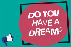 Handwriting text Do You Have A Dream question. Concept meaning asking someone about life goals Achievements Framed multiline text. Ideas sound speaker declare Royalty Free Stock Photos