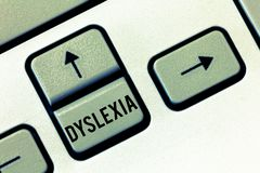 Handwriting text Dyslexia. Concept meaning Disorders that involve difficulty in learning to read and improve.  stock photo