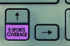 Handwriting text E Sports Coverage. Concept meaning Reporting live on latest sports competition Broadcasting.  royalty free stock photo