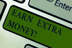 Handwriting text Earn Extra Money. Concept meaning improve your skills work extra hours or second job Keyboard key. Intention to create computer message royalty free stock photo