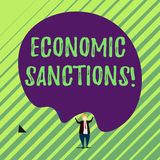 Handwriting text Economic Sanctions. Concept meaning Penalty Punishment levied on another country Trade war Male human. Handwriting text Economic Sanctions stock illustration