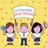 Handwriting text Economic Sanctions. Concept meaning Penalty Punishment levied on another country Trade war People with. Handwriting text Economic Sanctions stock illustration