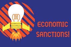 Handwriting text Economic Sanctions. Concept meaning Penalty Punishment levied on another country Trade war Top view. Handwriting text Economic Sanctions royalty free illustration