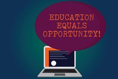 Handwriting text Education Equals Opportunity. Concept meaning similar rights to gain knowledge in a school Certificate royalty free illustration