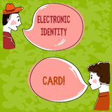 Handwriting text Electronic Identity Card. Concept meaning digital solution for proof of identity of citizens Hand Drawn Man and. Wo analysis Talking photo with stock photo