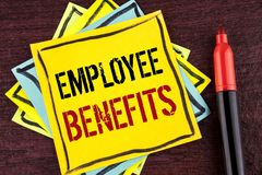 Handwriting text Employee Benefits. Concept meaning list of advantage recruiter get at work Insurance written on Yellow Sticky not. Handwriting text Employee Stock Photo