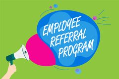 Handwriting text Employee Referral Program. Concept meaning employees recommend qualified friends relatives Man holding Megaphone. Loudspeaker screaming talk Stock Photo