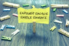 Free Handwriting Text Empower Engage Enable Enhance. Concept Meaning Empowerment Leadership Motivation Engagement Paperclip Hold Writte Royalty Free Stock Images - 121974399