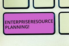 Handwriting text Enterprise Resource Planning. Concept meaning analysisage and integrate core business processes. Keyboard key Intention to create computer royalty free stock photo