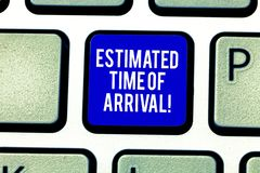 Handwriting text Estimated Time Of Arrival. Concept meaning Hours at which a flight is supposed to arrive Keyboard key. Intention to create computer message royalty free stock photography