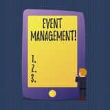 Handwriting text Event Management. Concept meaning Special Occasion Schedule Organization Arrange Activities. Handwriting text Event Management. Conceptual royalty free illustration