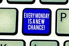 Handwriting text Every Monday Is A New Chance. Concept meaning Start your week with positivism Motivation Keyboard key stock photography
