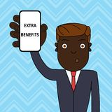 Handwriting text Extra Benefits. Concept meaning Additional compensation Bonus Subsidies Incentives Allowances Man. Handwriting text Extra Benefits. Conceptual vector illustration