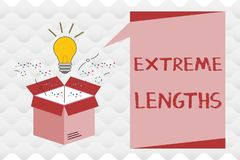 Handwriting text Extreme Lengths. Concept meaning Make a great or extreme effort to do something better.  stock illustration