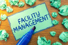Handwriting text Facility Management. Concept meaning Multiple Function Discipline Environmental Maintenance royalty free stock image