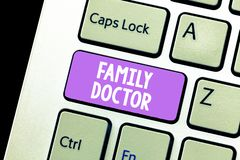 Handwriting text Family Doctor. Concept meaning Provide comprehensive health care for showing of all ages.  stock image