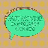Handwriting text Fast Moving Consumer Goods. Concept meaning High volume of purchases Consumerism retail Blank Oval vector illustration