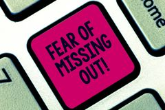Handwriting text Fear Of Missing Out. Concept meaning Afraid of losing something or someone stressed Keyboard key royalty free stock photos