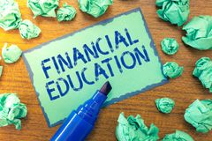 Handwriting text Financial Education. Concept meaning Understanding Monetary areas like Finance and Investing.  royalty free stock images