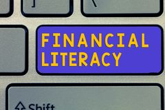Handwriting text Financial Literacy. Concept meaning Understand and knowledgeable on how money works.  royalty free stock photography