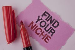 Handwriting text Find Your Niche. Concept meaning search for your field Decide Choice education Work written on Tear Pink Sticky n. Handwriting text Find Your royalty free stock photo