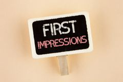 Handwriting text First Impressions. Concept meaning Encounter presentation performance job interview courtship written on Wooden N. Handwriting text First Stock Photos