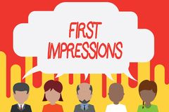 Handwriting text First Impressions. Concept meaning What a demonstrating thinks of you when they first meet you Five. Handwriting text First Impressions stock illustration