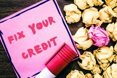 Handwriting text Fix Your Credit. Concept meaning Keep balances low on credit cards and other credit stock images