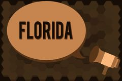 Handwriting text Florida. Concept meaning State in southeastern region of United States Sunny place Beaches.  royalty free illustration