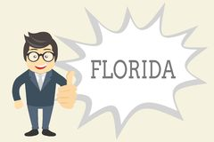 Handwriting text Florida. Concept meaning State in southeastern region of United States Sunny place Beaches.  vector illustration