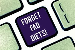 Handwriting text Forget Fad Diets. Concept meaning drop pounds due unhealthy calorie reduction or water loss Keyboard. Key Intention to create computer message royalty free stock photography