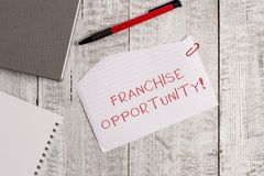 Handwriting text Franchise Opportunity. Concept meaning Business License Privilege Owner to Dealer Affiliation Torn. Handwriting text Franchise Opportunity royalty free stock photography