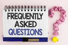 Handwriting text Frequently Asked Questions. Concept meaning most common inquiries Informations Help Guide written on Notebook Boo. Handwriting text Frequently Stock Photos