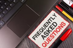 Handwriting text Frequently Asked Questions. Concept meaning most common inquiries Informations Help Guide written on White Sticky. Handwriting text Frequently Royalty Free Stock Image