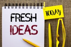 Handwriting text Fresh Ideas. Concept meaning Creative Vision Thinking Imagination Concept Strategy  written on Notebook Book on t Royalty Free Stock Photography