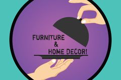 Handwriting text Furniture And Home Decor. Concept meaning Interior design creative modern house decoration Hu analysis. Hands Serving Tray Platter and Lifting royalty free illustration