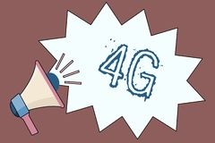 Handwriting text 4G. Concept meaning Mobile communication standard Wireless internet access at a higher speed.  vector illustration