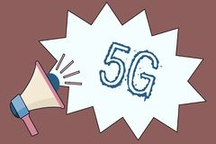 Handwriting text 5G. Concept meaning Next generation of mobile networks after the 4G LTE Fast speed connection.  vector illustration