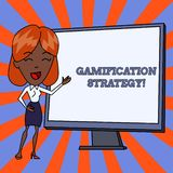 Handwriting text Gamification Strategy. Concept meaning use Rewards for Motivation Integrate Game Mechanics White Female. Handwriting text Gamification Strategy vector illustration