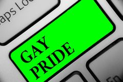 Handwriting text Gay Pride. Concept meaning Dignity of an idividual that belongs to either a man or woman Keyboard green key Inten. Tion create computer stock photo