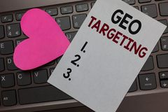 Handwriting text Geo Targeting. Concept meaning Digital Ads Views IP Address Adwords Campaigns Location Paper Romantic lovely mess. Age Heart Keyboard Type royalty free stock images