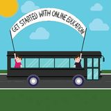 Handwriting text Get Started With Online Education. Concept meaning Initiate Elearning modern learning Two Kids Inside School Bus. Holding Out Banner with Stick royalty free stock photography