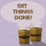 Handwriting text Get Things Done. Concept meaning To be in charge of do something leader leadership action Two To Go Cup royalty free illustration