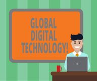 Handwriting text Global Digital Technology. Concept meaning Digitized information in the form of numeric code Blank Bordered Board. Behind Man Sitting Smiling vector illustration