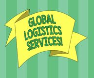 Handwriting text Global Logistics Services. Concept meaning Connects critical components of the supply chain Folded 3D Ribbon stock illustration