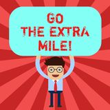 Handwriting text Go The Extra Mile. Concept meaning Give an additional do more than is expected from you Man Standing. Holding Above his Head Blank Rectangular royalty free illustration